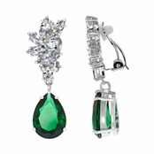 Adalia's Green CZ Pear Cut Dangle Clip On Earrings