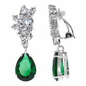Adalia's CZ Pear Cut Dangle Clip On Earrings - Emerald