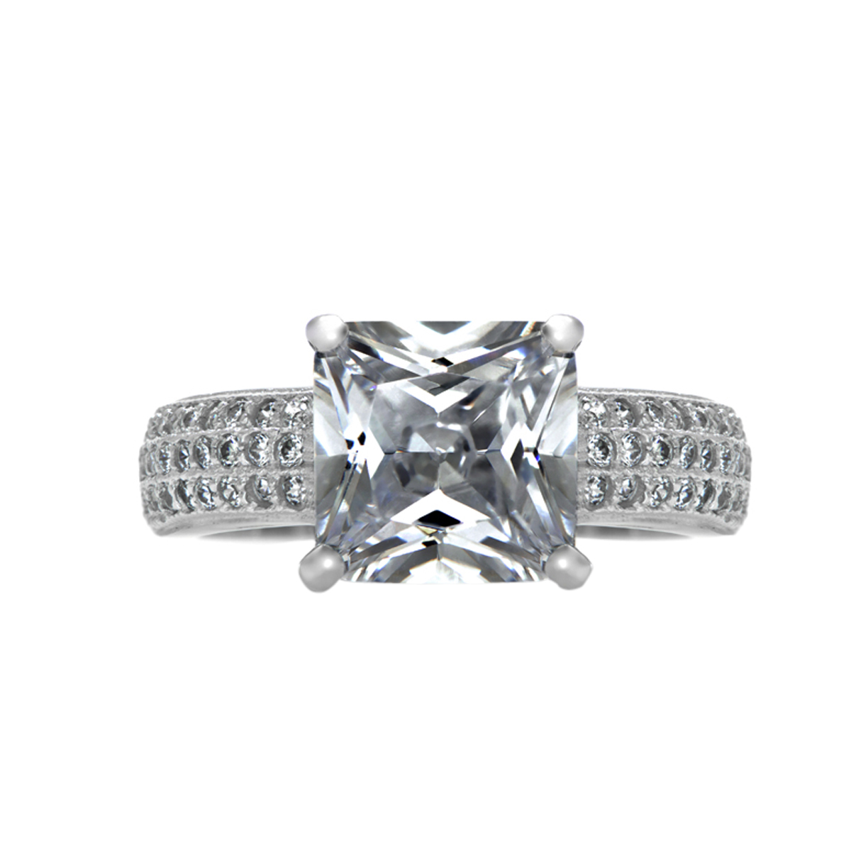 addie s row cz princess cut engagement ring