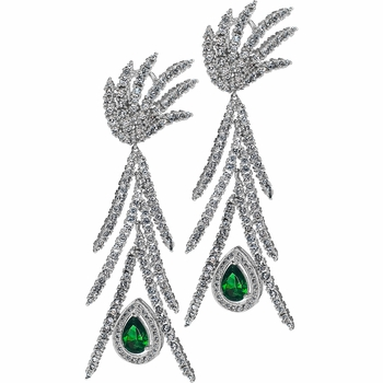 Adel's Peacock Simulated Emerald Green CZ Earrings