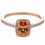 Adela's Champagne Cushion Cut CZ Halo Engagement Ring - Rose Gold