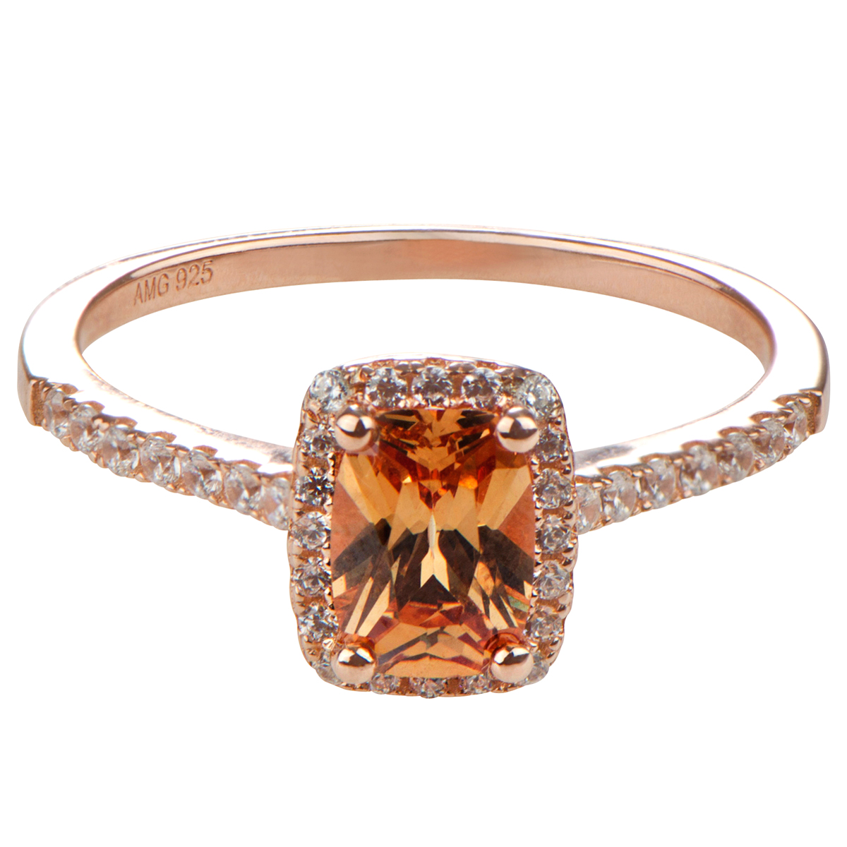 Adela s Champagne Cushion Cut CZ Halo Engagement Ring Rose Gold