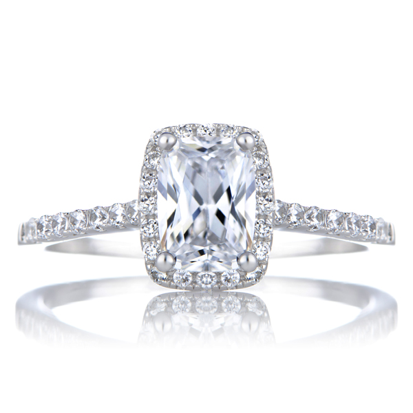 Adela s Cushion Cut CZ Engagement Ring