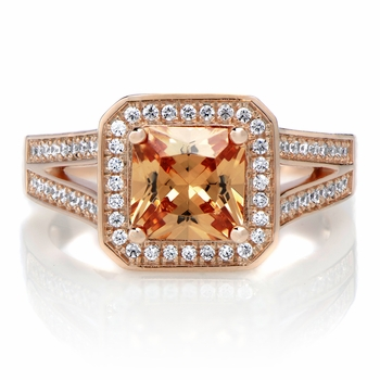 Adelle's 1.96ct Rose Goldtone Princess Cut Champagne CZ Engagement Ring