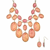Adelle's Mystic Pink Statement Necklace Set