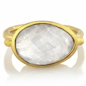 Adra's Oval Cut Simulated Moonstone Gold Tone Cocktail Ring