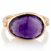 Adra's Oval Cut Purple Stone Rose Goldtone Cocktail Ring