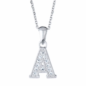 "Adriana's Personalized Silvertone and CZ Initial Necklace - ""A"""