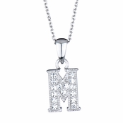 "Adriana's Personalized Silvertone and CZ Initial Necklace - ""M"""