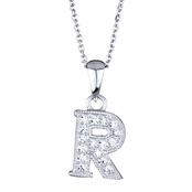 "Adriana's Personalized Silvertone and CZ Initial Necklace - ""R"""