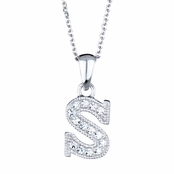 "Adriana's Personalized Sterling Silver and CZ Initial Necklace - ""S"""