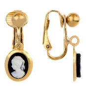 Aggie's Gold Dangle Cameo Clip On Earrings