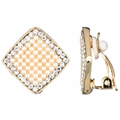 Aideen's Gold Diamond Shape Faux Pearl and Rhinestone Clip On Earrings