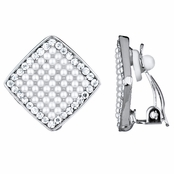 Aideen's Silver Diamond Shape Faux Pearl and Rhinestone Clip On Earrings