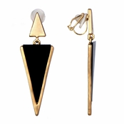 Aileen's Black and Gold Triangle Drop Clip On Earrings