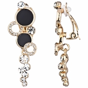 Ainsley's Double Stone Dangle Clip-on Earrings - Gold