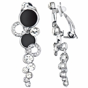 Ainsley's Double Stone Dangle Clip-on Earrings - Silver