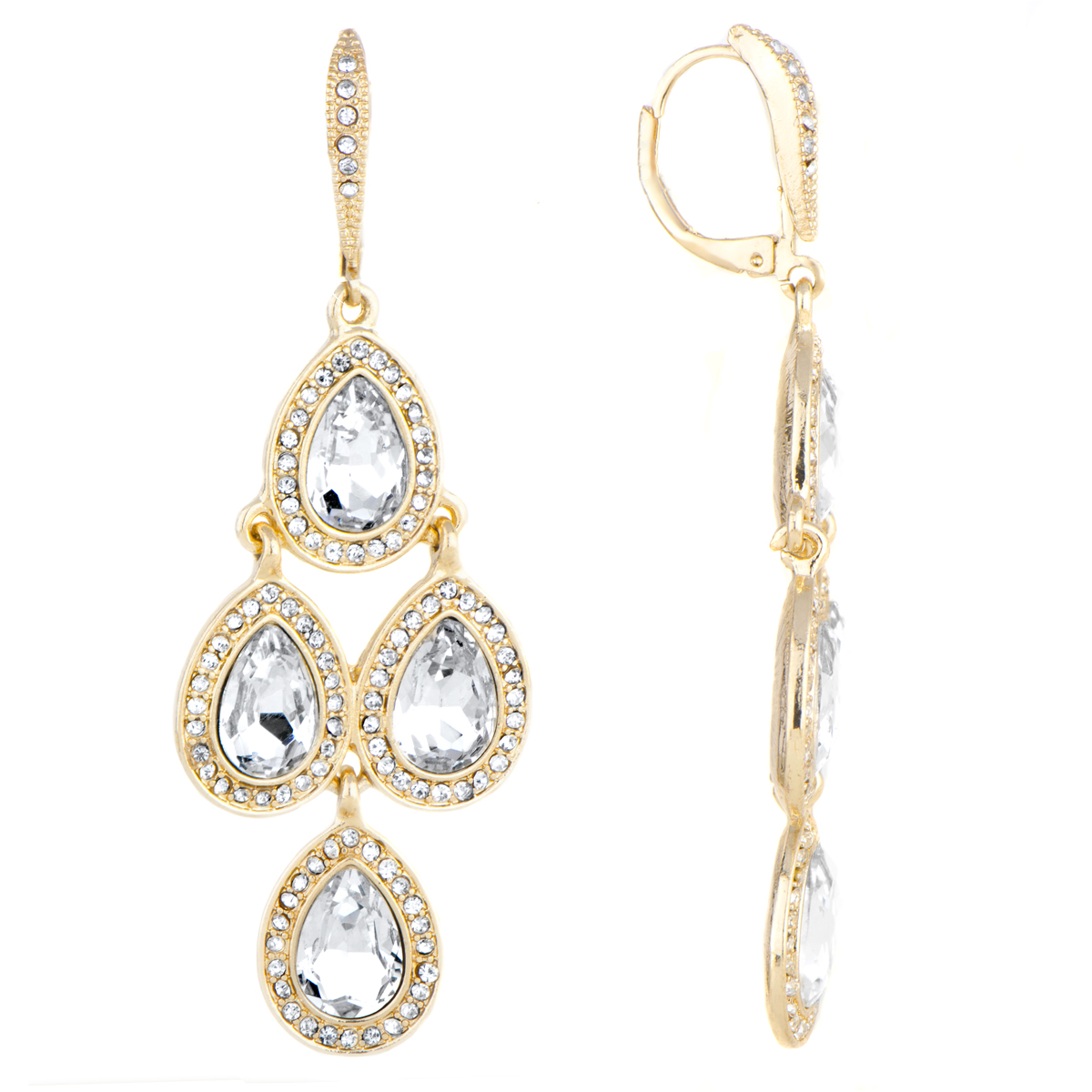 Goldtone Rhinestone Chandelier Earrings – Gold Tone Chandelier Earrings