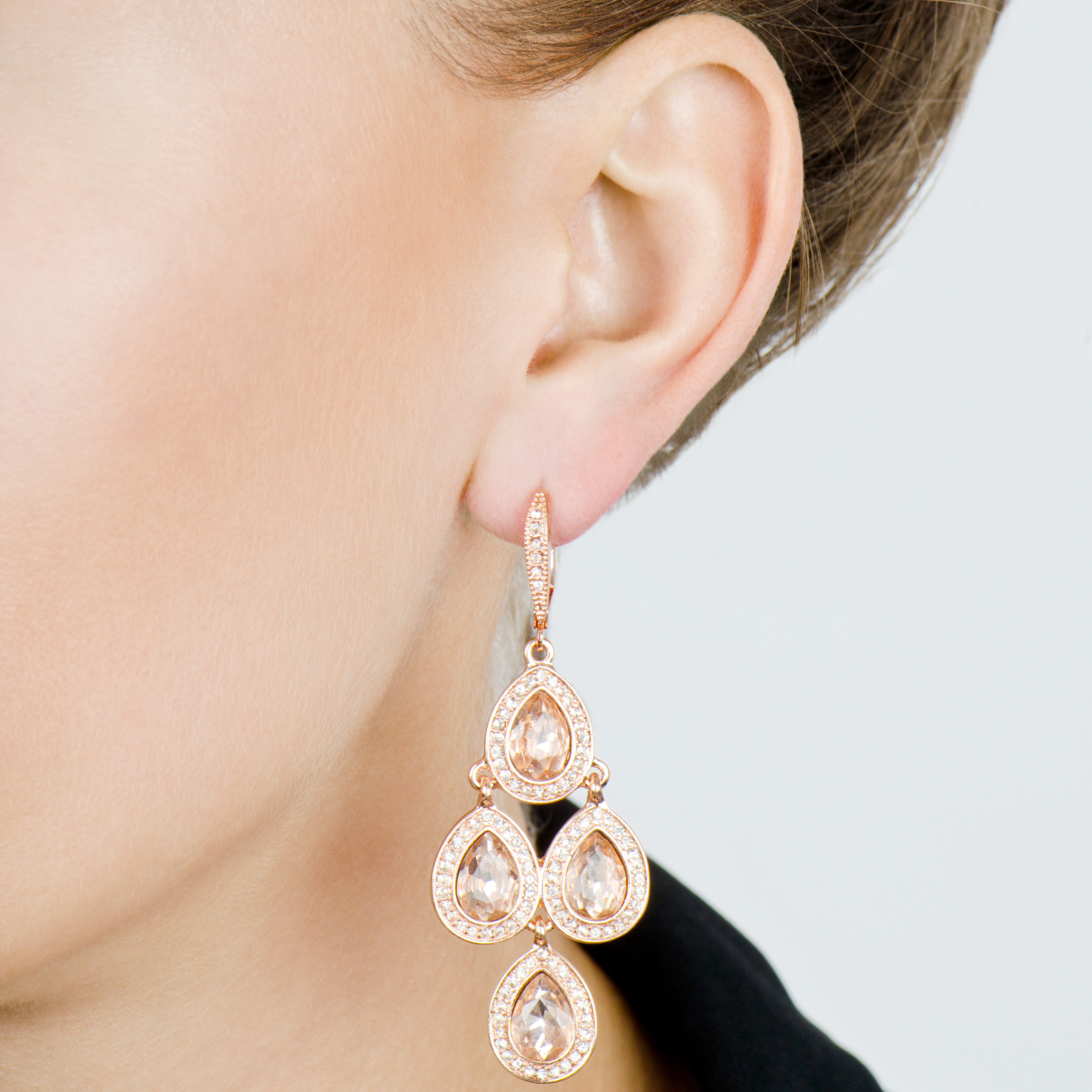 Rose Goldtone Pink Rhinestone Chandelier Earrings – Gold Tone Chandelier Earrings