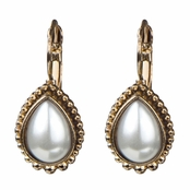 Akello's Gold Monarchial Pearl Droplet Earrings