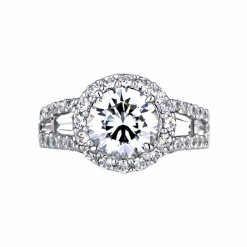Alegria's Round Cubic Zirconia Unique Engagement Ring