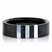 Alexander's Black Stainless Steel Ring with Simulated Shell Inlay