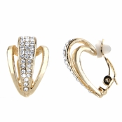 Alexandra's Gold Tone Rhinestone Half Hoop Clip On Earrings