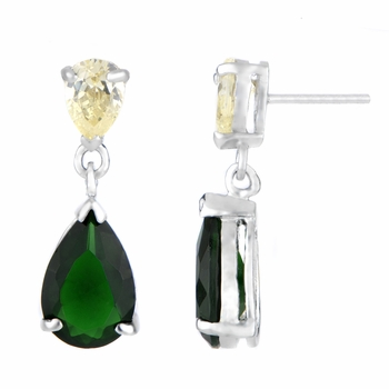 Trish's Yellow CZ and Green CZ Double Pear Drop Earrings