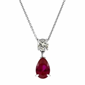 Alexia's Pear Drop CZ Ruby Necklace