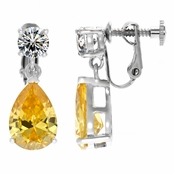 Alexia's Pear Drop Non Pierced Canary CZ Screwback Earrings