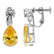 Alexia's Pear Drop Non Pierced Screwback Earrings - Canary