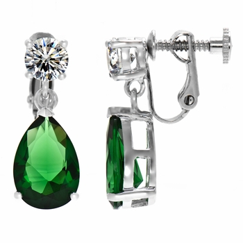 Alexia's Pear Drop Non Pierced Screwback Earrings - Emerald