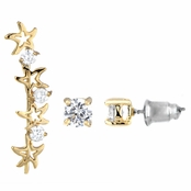 Aleyah's Gold Tone Shooting Star Crystal Ear Cuff Set