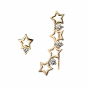 Aleyah's Gold Shooting Star Crystal Ear Cuff Set