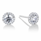 Diamond Halo & 5 mm CZ Stud Earrings in 18kt White Gold