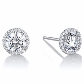 Diamond Halo & 6.5 mm CZ Stud Earrings in 18kt White Gold