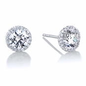 Diamond Halo & 6 mm CZ Stud Earrings in 18kt White Gold
