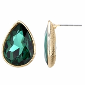 Alina's Pear Cut Simulated Emerald Stud Earrings