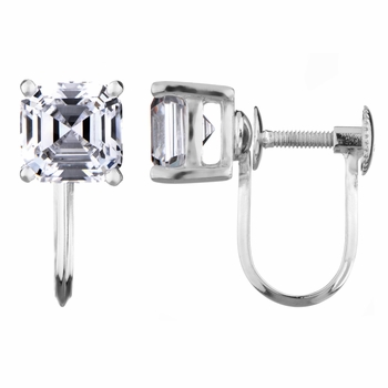 Alix's Screw Back Earrings - 2 TCW Asscher Cut CZ