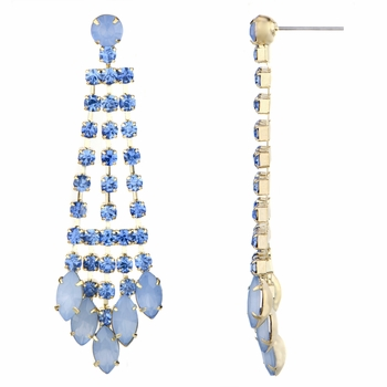Aliza's Light Blue Rhinestone Fringe Dangle Earrings