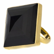 Alma's Jumbo Square Simulated Onyx Cocktail Ring