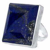 Alma's Jumbo Square Simulated Blue Lapis Cocktail Ring