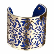 Amaisa's Gold and Blue Cutout Bohemian Cuff Bracelet
