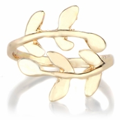 Amber's Goldtone Adjustable Leaf Branch Ring