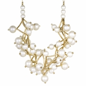 Ambrose's 18in Gold and White Simulated Pearl Layered Necklace