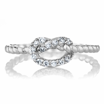 Amelia's Silvertone CZ Love Knot Ring