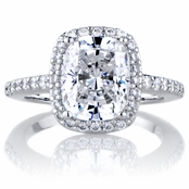 Amerie's  2.5 Carat Cushion Cut Halo Engagement Ring
