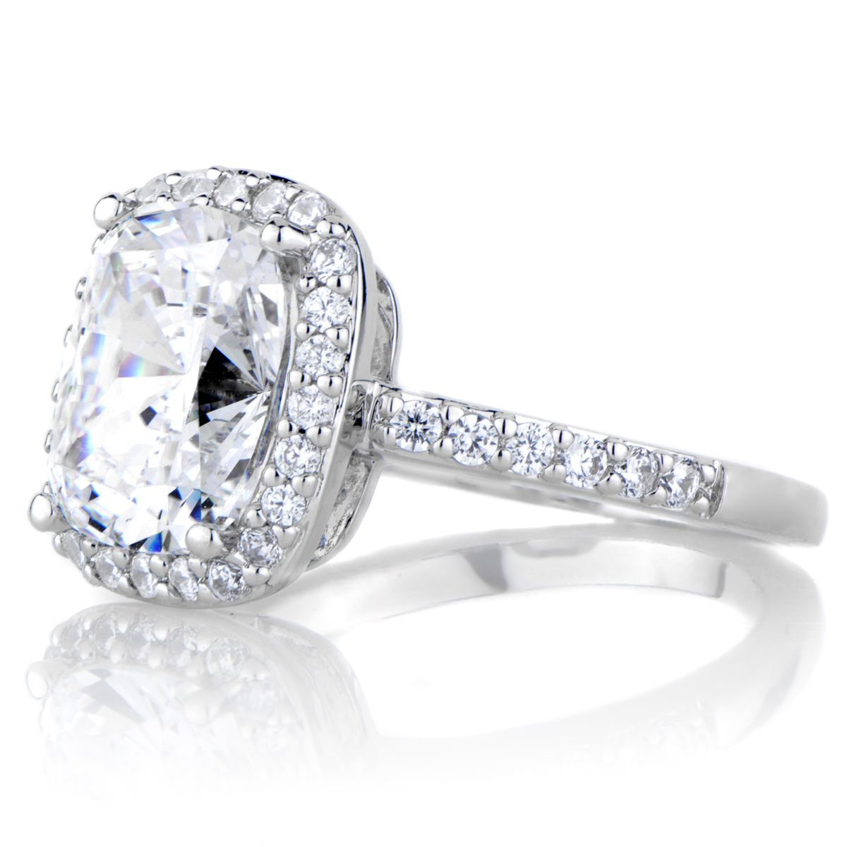 Amerie s 2 5 Carat Cushion Cut Halo Engagement Ring