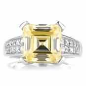 Amica's Asscher Cut Canary CZ Right Hand Ring