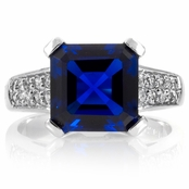 Amica's Asscher Cut Blue CZ Right Hand Ring